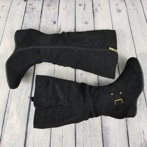 Shoes - Knee high wide calf wedge heel side zip boots